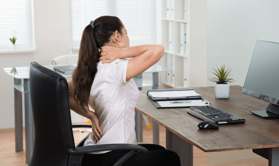 A chiropractor advises against slouching for a long time.
